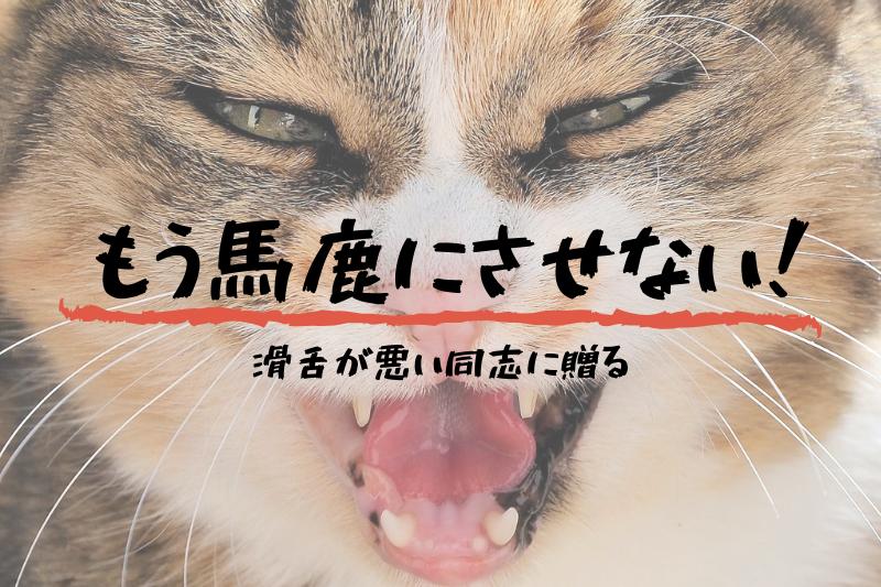 滑舌を馬鹿にされて怒る著者の代わりに怒る猫のアイキャッチ