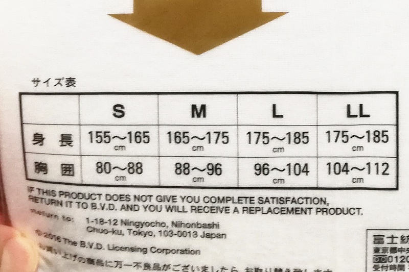 B.V.DのGOLDのパッケージに記載されているサイズ表